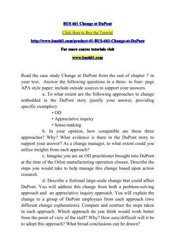 BUS 661 Change at DuPont