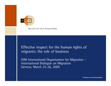 Presentation - International Organization for Migration