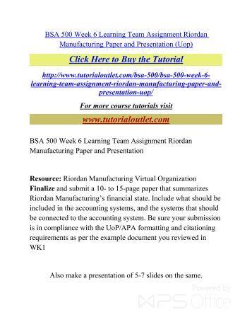 service request rm003 riordan manufacturing essay