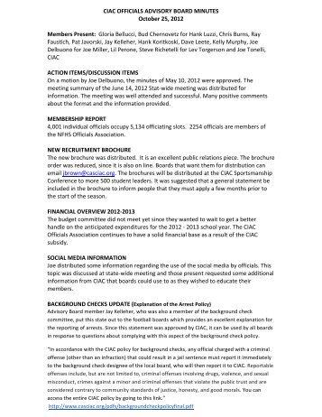 CIAC OFFICIALS ADVISORY BOARD MINUTES October 25, 2012 ...