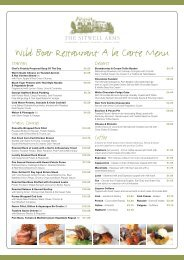 Wild Boar Restaurant A la Carte Menu
