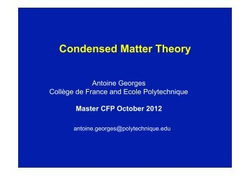 Condensed Matter Theory