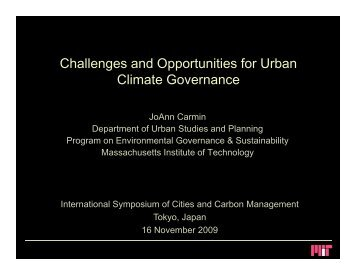 Challenges and Opportunities for Urban Climate Governance
