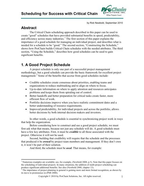 Scheduling for Success with Critical Chain Abstract 1 A Good