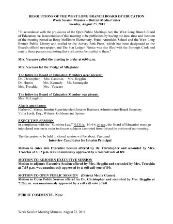 Work Session Meeting Minutes, August 23, 2011 RESOLUTIONS OF ...