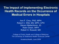 The Impact of Implementing Electronic Health Records on the ...