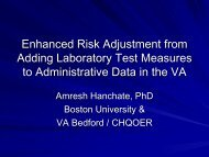 Adding Laboratory Test Measures to Administrative Data in the VA