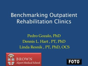 Benchmarking Outpatient Rehabilitation Clinics