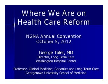 Where We Are on Health Care Reform