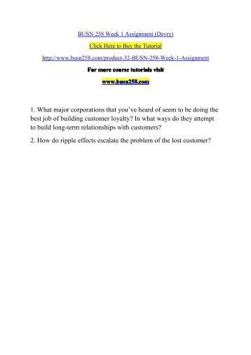 BUSN 258 Week 1 Assignment (Devry)