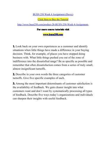 BUSN 258 Week 4 Assignment (Devry)