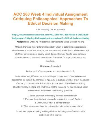 philosophical approach to ethical decision making This book examines issues relating to ethical decision-making in the this balanced approach both makes clear the ethics for managers: philosophical.