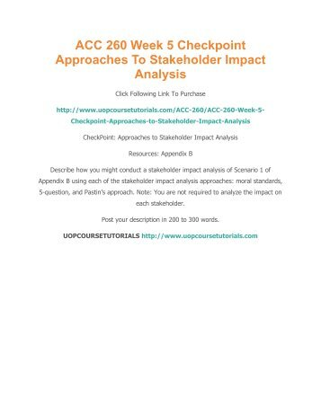 Approaches to Stakeholder Impact Analysis Essay