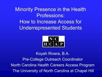 Minority Presence in the Health Professions