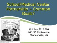 School/Medical Center Partnership – Common Goals?