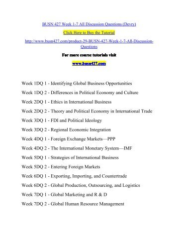 BUSN 427 Week 1-7 All Discussion Questions (Devry)