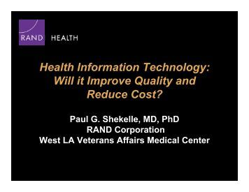 Technology and healthcare costs