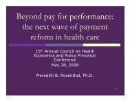 Beyond pay for performance the next wave of payment reform in health care