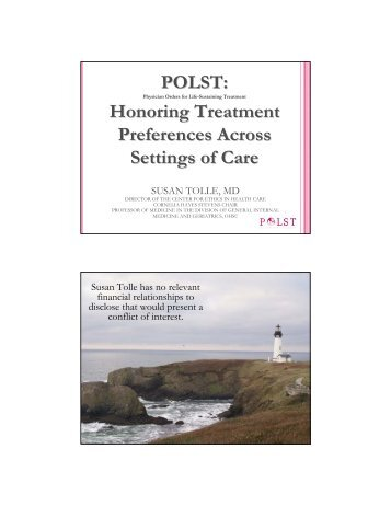POLST Honoring Treatment Preferences Across Settings of Care