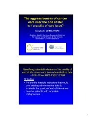 The aggressiveness of cancer care near the end of life - Council on ...