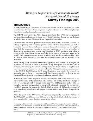 Survey of Dental Hygienists 2009