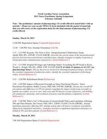 North Carolina Nurses Association 2013 Nurse Practitioner Spring ...