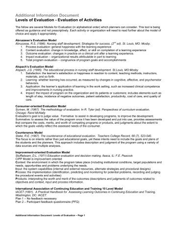 Additional Information Document Levels of Evaluation - Evaluation of Activities