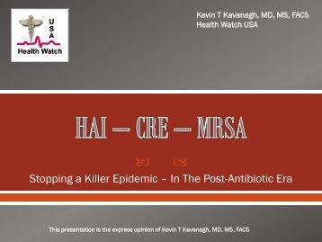 HAI – CRE – CDC - Health Watch USA