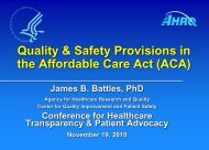 Quality & Safety Provisions in the Affordable Care Act (ACA)