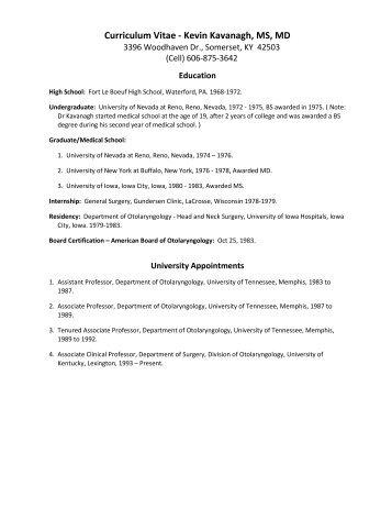 Curriculum Vitae - Kevin Kavanagh MS MD