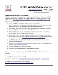 Health Watch USA Newsletter