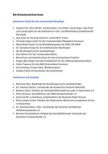 Die Erstunterzeichner(innen) - Kuratorium Deutsche Altershilfe