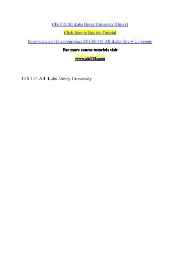 CIS 115 All iLabs Devry University (Devry)