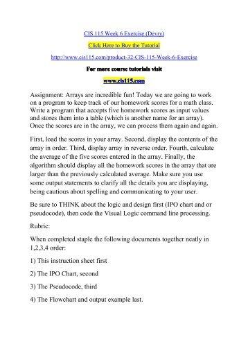 CIS 115 Week 6 Exercise (Devry)
