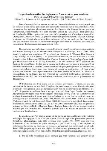 La gestion intonative des topiques en français et en grec moderne