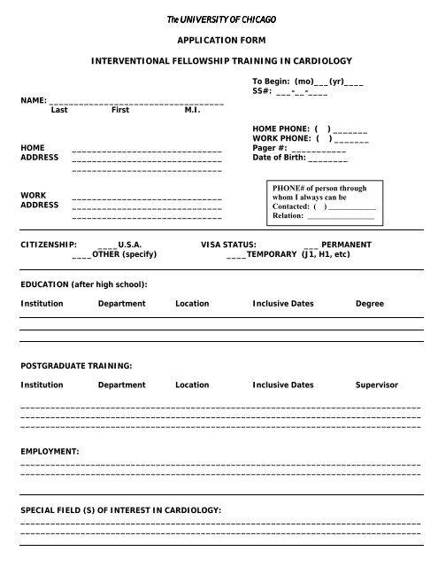 Interventional cardiology fellowship application (PDF