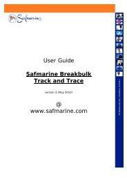 User Guide Safmarine Breakbulk Track and Trace @ www.safmarine.com