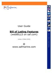 Bill of Lading Features - Safmarine
