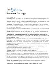 Terms for Carriage