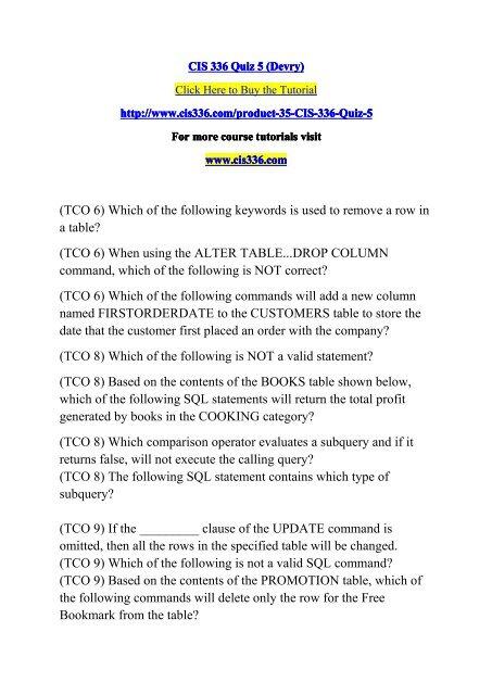 CIS 336 Quiz 5 (Devry)