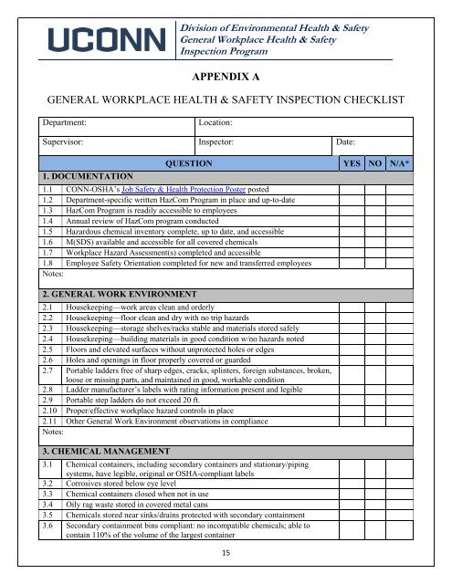 appendix a general workplace health & safety inspection