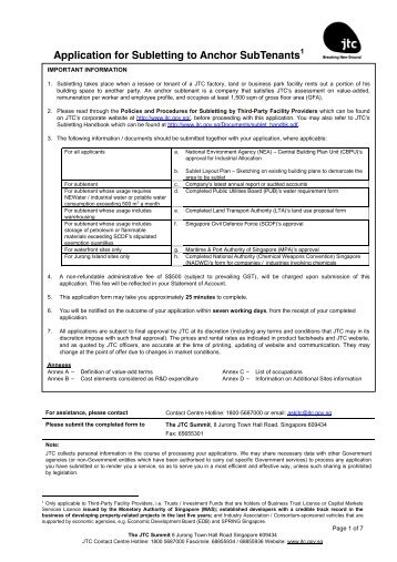 Application for Subletting to Anchor SubTenants