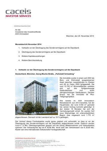 AXA Immoselect – Monatsbericht Oktober 2013 ... - Fonds-Discount