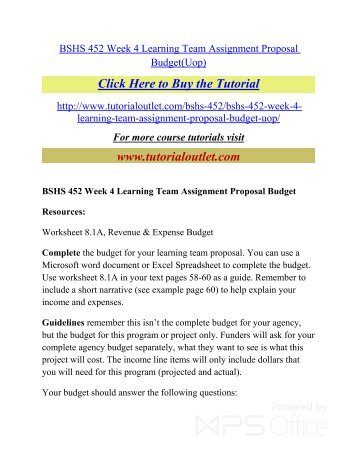 revenue and expense budget