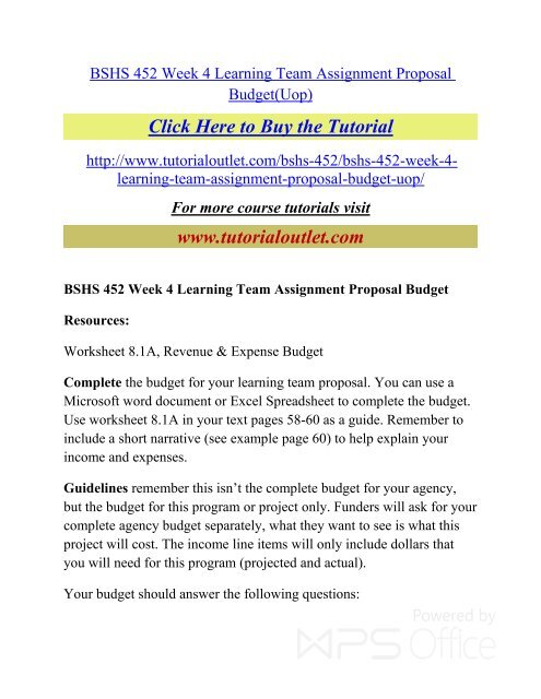 BSHS 452 Week 4 Learning Team Assignment Proposal Budget pdf