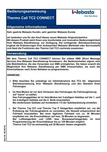 Bedienungsanweisung Thermo Call TC2 CONNECT Allgemeine ...