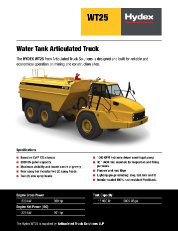 Water Tank Articulated Truck - Articulated Truck Solutions
