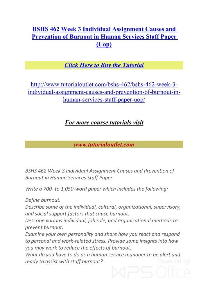 bshs 462 week 4 individual assignment Bshs 462 entire course (uop course) for more course tutorials visit wwwtutorialrankcom bshs 462 week 1 individual assignment characteristics and environments of a human service organization paper (uop course.