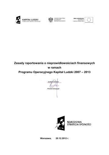 w ramach Programu Operacyjnego Kapitał Ludzki 2007 – 2013