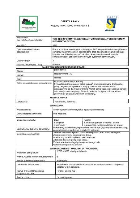 Oferta Pracy Krajowy Nr Ref 10000 1091532349 S